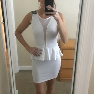 White peplum dress with shoulder embellishment ❤️